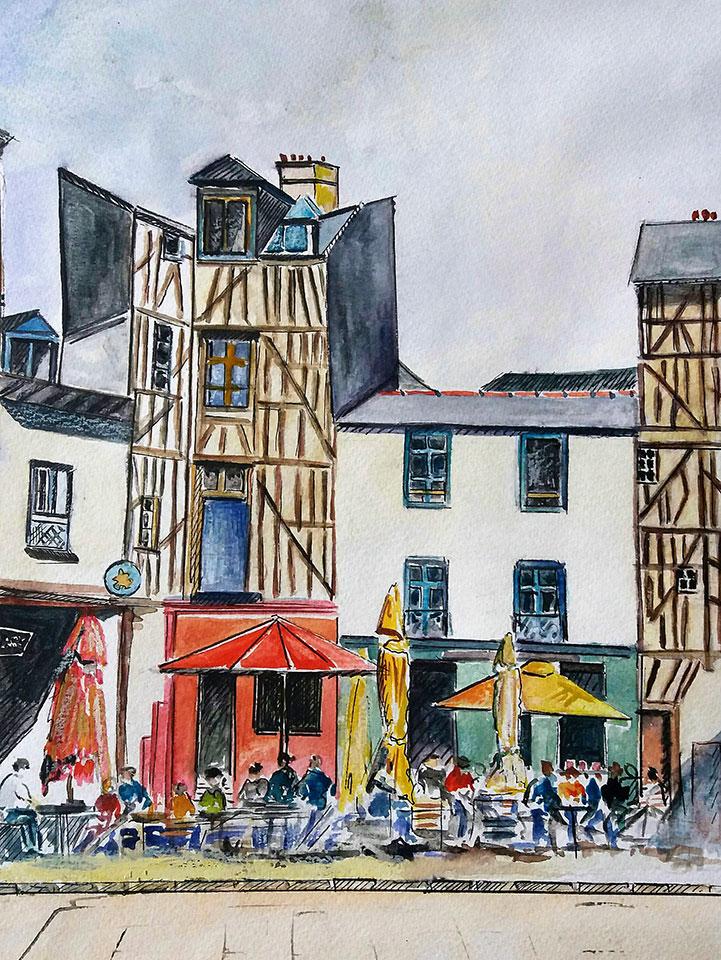 Rennes aquarelle